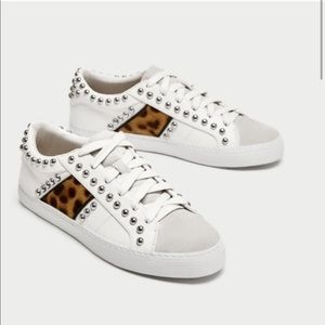 Zara Studded Jeweled Leopard White Sneakers